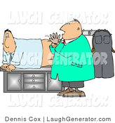 Humorous Clip Art of a Scared and Worried Man Getting His First Prostate Examimation by Djart