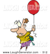 Humorous Clip Art of a Scared Business Man Getting Carried Away by a Red Balloon by Toonaday
