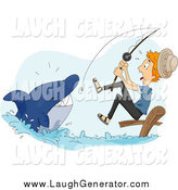 Humorous Clip Art of a Scared White Man Reeling in a Shark While Fishing by BNP Design Studio