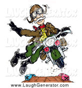 Humorous Clip Art of a Senior Ww2 Vet Man Doing Stunts on a Motorcycle by Spanky Art
