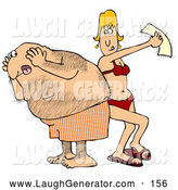Humorous Clip Art of a Shocked Middle Aged Hairy Caucasian Man in Shorts Screaming in Pain As a Blond Woman Peels off a Wax Strip from His Back by Djart