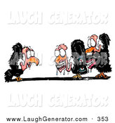 Humorous Clip Art of a Shocked Vulture Watching His Friends Applying Dentures by Spanky Art