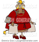 Humorous Clip Art of a Shopaholic Cow by Djart