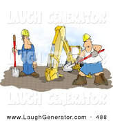Humorous Clip Art of a Silly Construction Worker Man Wearing Boxer Shorts While Working Beside an ExcavatorSilly Construction Worker Man Wearing Boxer Shorts While Working Beside an Excavator by Djart
