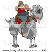 Humorous Clip Art of a Silly Cowboy Riding a Giant Great Dane Dog Instead of a Horse by Djart