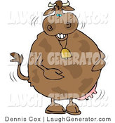 Humorous Clip Art of a Silly Laughing Cow Wearing a Bell by Djart