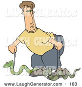 Humorous Clip Art of a Silly White Man Walking Two Green Pet Snakes on Leashes by Djart