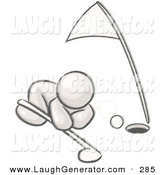 Humorous Clip Art of a Sketched Design Mascot Sporty Man down on the Ground, Trying to Blow a Golf Ball into the Hole by Leo Blanchette