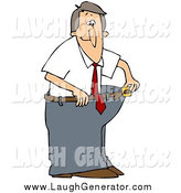 February 16th, 2014: Humorous Clip Art of a Skinny Man in His Fat Pants by Djart