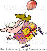 Humorous Clip Art of a Smiling Birthday Girl in a Polka Dot Dress, Carrying a Present and Balloon by Toonaday