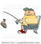Humorous Clip Art of a Smiling Fisherman Catching a Boot with a Fishing Pole - Fishing Humor by Djart