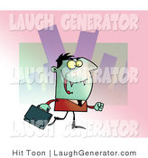Humorous Clip Art of a Smiling Green Vampire with Fangs, Dressed in a Suit and Carrying a Briefcase to an Office in the City by Hit Toon