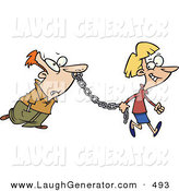 Humorous Clip Art of a Smiling Woman Leading a Man on a Metal Chain by Toonaday
