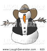 Humorous Clip Art of a Snowman Cowboy on White by Djart