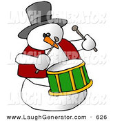 Humorous Clip Art of a Snowman Drummer Playing the Drums and Looking Right by Djart