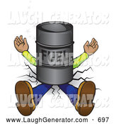 November 4th, 2013: Humorous Clip Art of a Squashed Man Lying Flat, Crushed into the Ground Under a Barrel of Fuel by Paulo Resende