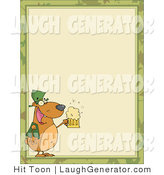 Humorous Clip Art of a St Patrick's Day Bear with a Foaming Beer, in the Corner of a Stationery Background or Blank Menu by Hit Toon