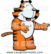 Humorous Clip Art of a Standing Tiger Laughing and Pointing by Cory Thoman
