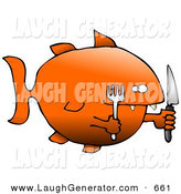 Humorous Clip Art of a Starving Fat Goldfish Holding a Knife and Fork Looking Right by Djart