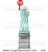 Humorous Clip Art of a Statue of Liberty Holding a Stop Sign and Looking Ahread by Djart