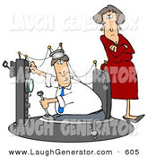 Humorous Clip Art of a Stern Wife Watching As Her Husband Plays and Experiments in His Time Machine Invention by Djart
