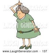Humorous Clip Art of a Stinky Caucasian Woman in a Green Dress and Heels, Lifting Her Arm up over Her Head and Sniffing Her Armpit for Odor by Djart