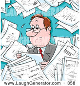 Humorous Clip Art of a Stressed and Sweaty Businessman Surrounded by Memos, Paperwork or Employment Applications by Alex Bannykh
