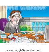 Humorous Clip Art of a Stressed Caucasian Businessman Sweating at His Desk and Staring at His Computer by Alex Bannykh