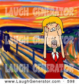 Humorous Clip Art of a Stressed out Blond Caucasian Business Woman Holding Her Hands to Her Cheeks While Screaming Against a Sunset by Djart