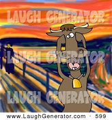 Humorous Clip Art of a Stressed out Brown Dairy Cow with Bell Holding Its Hooves to Its Cheeks While Screaming, a Humorous Parody of the Scream by Edvard Munch by Djart