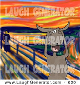 May 21st, 2013: Humorous Clip Art of a Stressed out Brown Dog Standing and Holding His Paws to His Cheeks While Screaming, a Humorous Parody of the Scream by Edvard Munch by Djart