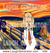 Humorous Clip Art of a Stressed out Caucasian Business Man Holding His Cheeks While Screaming by Djart