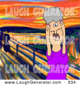 Humorous Clip Art of a Stressed out Caucasian Elderly Granny Woman Holding Her Hands to Her Cheeks While Screaming, a Humorous Parody of the Scream by Edvard Munch by Djart