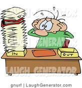 Humorous Clip Art of a Stressed out Caucasian Employee Man Eyeing a Giant Stack of Paperwork on His Desk Resting in His in Box by Gnurf