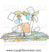 August 10th, 2014: Humorous Clip Art of a Stressed White Male Manager Standing Chest High in Paperwork, Tossing Pages into the Air by Djart