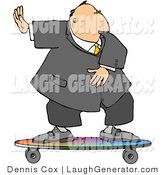 Humorous Clip Art of a Successful Businessman Surfing on a Rainbow Skateboard by Djart