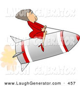 Humorous Clip Art of a Successful Businesswoman Riding a Rocket to the Right by Djart