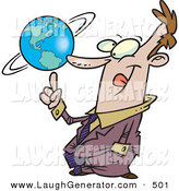 Humorous Clip Art of a Successful Caucasian Business Man Spinning the World Globe on His Finger by Toonaday