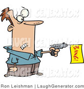 Humorous Clip Art of a Surprised Man Shooting a Dud Gun with a Bang Flag by Toonaday