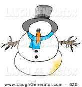 Humorous Clip Art of a Surprised Snowman with a Patch of Pee on Him by Djart