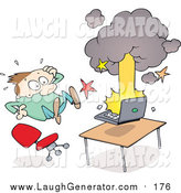 Humorous Clip Art of a Surprised White Man Leaping Back from His Exploding and Smoking Laptop Computer by Gnurf