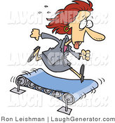 Humorous Clip Art of a Sweating Professional Business Woman Running on a Treadmill by Toonaday