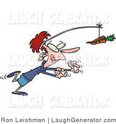 Humorous Clip Art of a Thin Dieting Woman Chasing a Chocolate Covered Carrot on a Stick by Toonaday