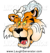 Humorous Clip Art of a Tiger Washing His Hair with Shampoo by Dero