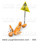 Humorous Clip Art of a Tired Orange Person Seeing Stars and Lying on Their Back After Slipping in Front of a Caution Sign by 3poD