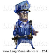 Humorous Clip Art of a Tough Male Police Officer in a Blue Uniform, Holding His Fingers out like a Pistol, on White by Tonis Pan