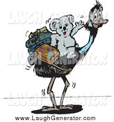 Humorous Clip Art of a Traveling Koala Riding an Ostrich by Dennis Holmes Designs