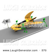 Humorous Clip Art of a Trio Green Aliens Pushing Their Yellow Ufo to a Gas Station After Running out of Gasoline by 3poD