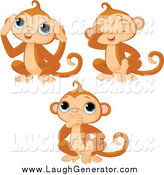 Humorous Clip Art of a Trio of No Evil Monkeys by Pushkin