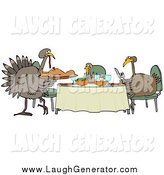 Humorous Clip Art of a Turkey Bird Family Dining on a Man by Djart